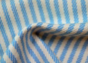 China Yarn Dyed Cotton Fabric / Blue And White Striped Fabric Custom Made Color on sale