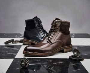 China Comfortable Mens Leather Dress Boots Soft Coffee And Blue Vintage Shoes on sale