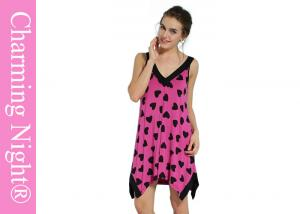 China Heart Shape Print Viscose Hot Sale Women Lovely Long Nightgown For All Women on sale