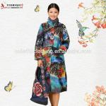 Papaver rhoeas floral embroidered Chinese traditional clothing for winter