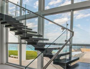 China best quality glass railing wood stair with tempered glass railing on sale