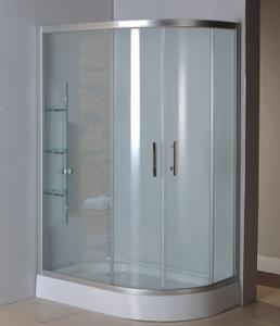 China Complete shower units with virgin ABS tray satin silver aluminum alloy #6463 frame on sale
