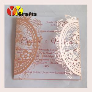 China Lace wedding invitation card creative folding natural flower wedding card on sale