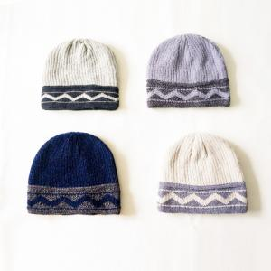 China New production  Wholesale striped wave pattern winter knitted beanie hats cap for teenagers boys on sale