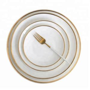 China European restaurant grace designs gold rim ceramic dinnerware set on sale
