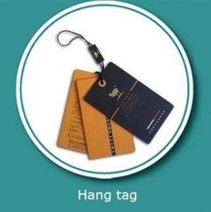 China Customized Logo Printing paper garment tags with hanging tablets on sale