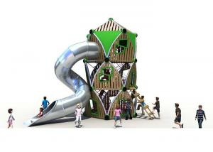 China Wooden Custom Playgrounds , Teenager Playground Set With Climbing Net And Stainless Slide on sale