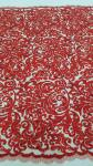 125cm Red Embroidered Beaded Lace Fabric , Beaded Bridal Lace By The Yard