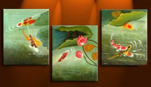 China 3pcs/set Animal-Fish Home-decor Abstract Art;Hand Painted Artwork On Canvas Art on sale