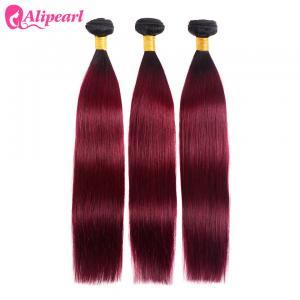 China 1B 99j Burgundy Color Silky Straight Human Hair Weave 3 Bundles 8A Quality on sale