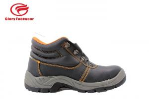 China Double Density PU Outsole Steel Toe Work Shoes With Embossed Leather / Breathable Lining on sale