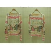 Womens Fine Knit Sweaters V Neck House And Flower Printed Cardigan