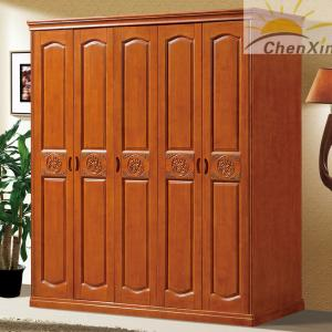 China Durable Vintage Shiny Solid Wood Wardrobe Closet For Bedroom 635MM Width on sale