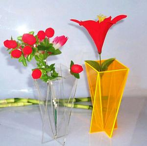 China Simple Home Decoration Acrylic Flower Display Vase Clear Yellow on sale