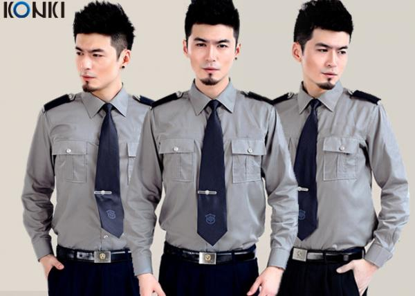 84e960406 Cotton Grey Security Guard Uniform With Long Sleeve Work Shirts for ...