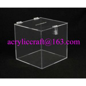 China Transparent Square Acrylic Donation Box With Lock on sale