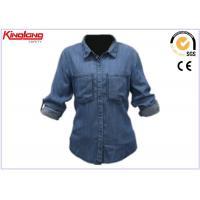 Outdoor Indigo Denim Shirt Dark Blue , Long Sleeves Denim Shirt Fashion For Women