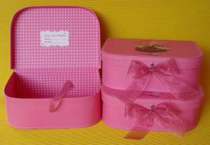 Quality Pink Cardboard Luggage Suitcase Box With Ribbon Closure And Handle For