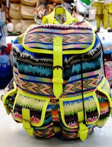 China Neon Binding Fashion Canvas Backpack With Multi-Colored Tribal Backpack on sale