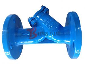 China Din Pn16 Flanged Y Type Filter Cast Iron GG25 With SS304 Screen Epoxy Coating on sale