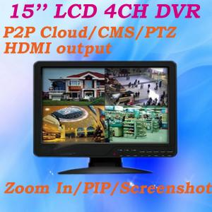 China 15'' LCD CCTV Monitor All in one DVR 4 channel Full D1 960H Resolution RS485 PTZ Alarm CMS Screenshot CCTV DVR on sale