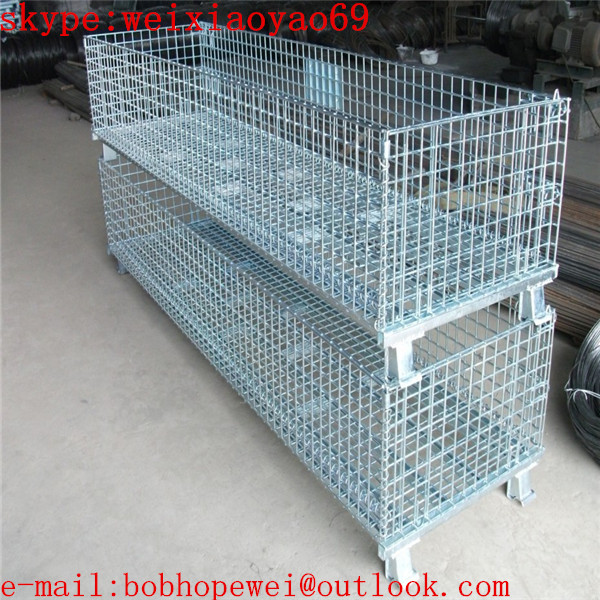 Foldable Warehouse wire mesh container cage/security cage/pallet ...