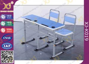 China Wooden Double Training Seminar Table And Chair Set Adjustable Height on sale