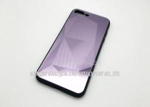 China 3D Tempered Glass Phone Case , Mirror Diamond Grain Gloss Glass Screen Protector Case on sale