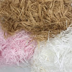 China Christmas Present Wrapping Accessories , White Pink Filling Raffia Coloured Shredded Paper Tissue on sale