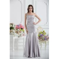 China Sexy One Shoulder Mermaid Floor Length Silver Evening Dress Party Gown Beads on sale
