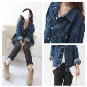 China Casual Style Sleeveless Womens Denim Jean Jackets Dark Blue Button Closure on sale