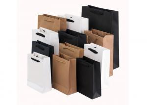 China Printed Retail Flat Handle PMS Kraft Paper Shopping Bags on sale