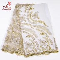 Factory  Heavy Tulle Beaded Embroidery Lace Fabric For Bridal Dress