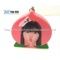 Pink Peach Shaped Music Keychain Custom Talking Keychain With Sound