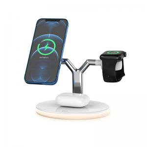China PC ABS 3 In 1 15W Magnetic Desktop Wireless Charger For Cell Phone on sale