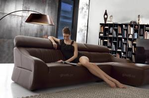 Quality Sitting room furniture leather sofa , Kuku leather sofas , Modern leather sofas for sale
