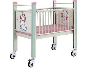 China Pink Cartoon Movable Baby Bed , Steel Epoxy Baby Care Bed With Castor on sale