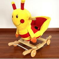 Fashion Plush Rocking Honeybee Animal Toys With Music For Children Riding On