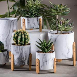 China Mini Succulents Planters Tabletop Pots Clay Flower Pots Marble Flowerpots Cement Pot Planters on sale