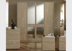 China Oak Wood Veneer Hotel Room Wardrobe Four Doors Large Size High Grade With Mirrors on sale