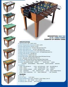 China Popular 10 In 1 Multi Game Table Wood Grain Color With Different Game Toy on sale