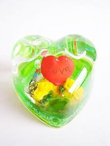 China inparticular love heart shape green snow globe with pen holder on sale