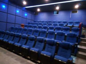China Inner Plywood Folding Cinema Theater Chairs High Density Sponge With Cupholder on sale