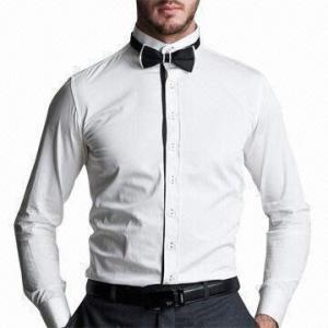 Mens white collarless dress shirt custom shirt for Collarless white shirt slim fit