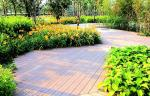 Grain Surface Wood Deck Tiles , Park Decoration Plastic Decking Planks