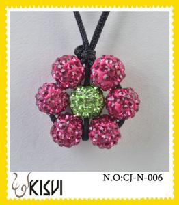 China Fashion shamballa pink and green beads necklace for children, women on sale