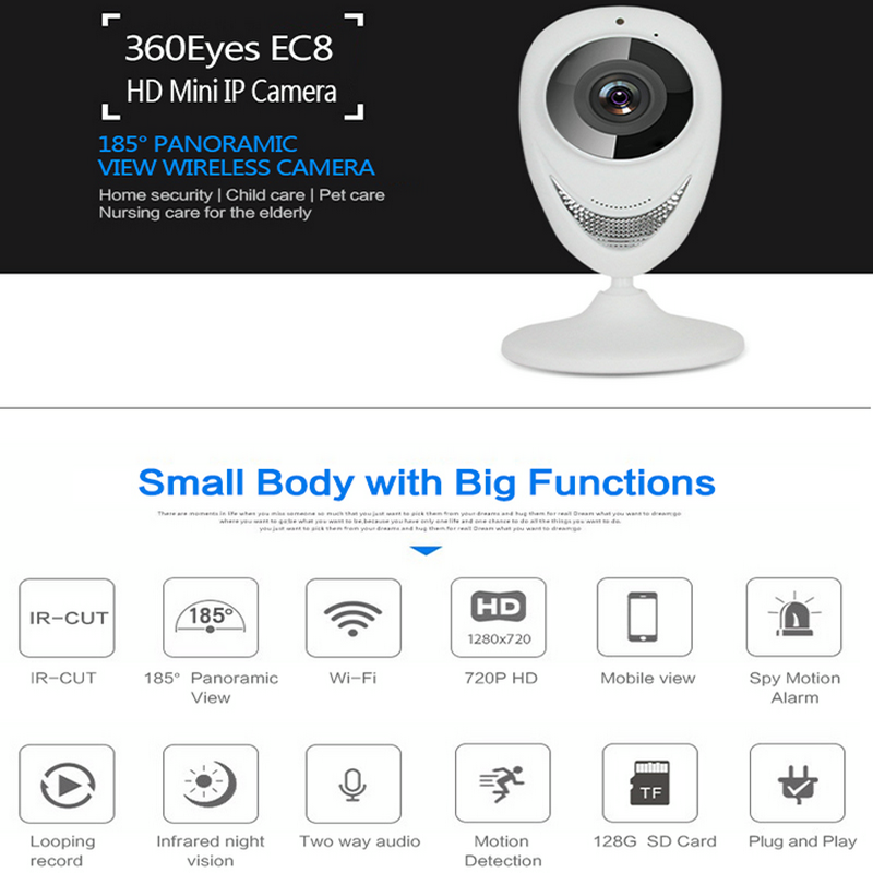 Indoor Security Wireless 180° Wide Panoramic View 720P 2-Way Audio Baby Monitor
