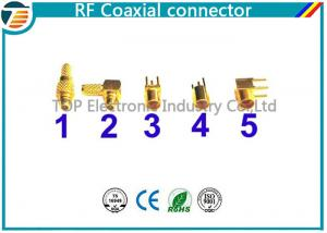 China MMCX Male Crimp Connector Right Angle 50 OHMs For RG316 Coaxial Cable on sale