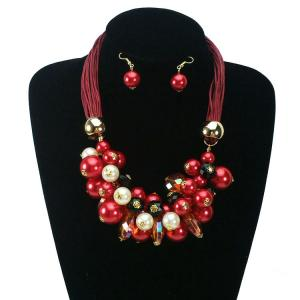 China Christmas Gift White Bead Statement Jewelry Set Fashion Red Pearl Crystal necklace earring on sale