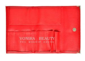 China Red Snap Closure 9 Slots Leather Makeup Brush Roll Beauty Cosmetics Tool Bag on sale